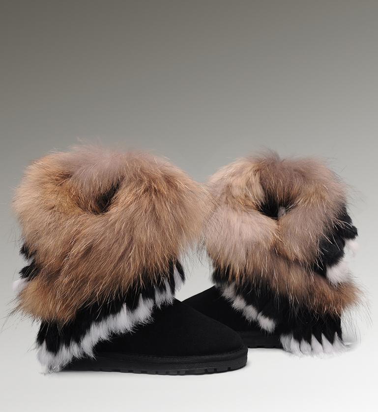 ugg fox fur short boots 8288 black classical ugg 125 cad160 61 rh ewpcorp com